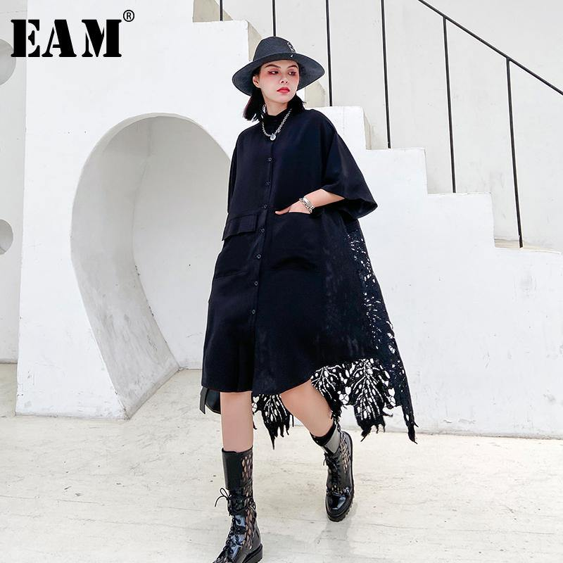 [EAM] Women Back Lace Hollow Out Big Size Blouse New Stand Collar Half Sleeve Loose Fit Shirt Fashion Spring Autumn 2020 1T175 -  - monaveli - monaveli