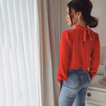 Load image into Gallery viewer, Women Office Lady Back Bow Bandage Blouse Long Sleeve Stand Collar Solid Elegant Casual Shirts 2020 Autumn New Fashion Blouse -  - monaveli - monaveli