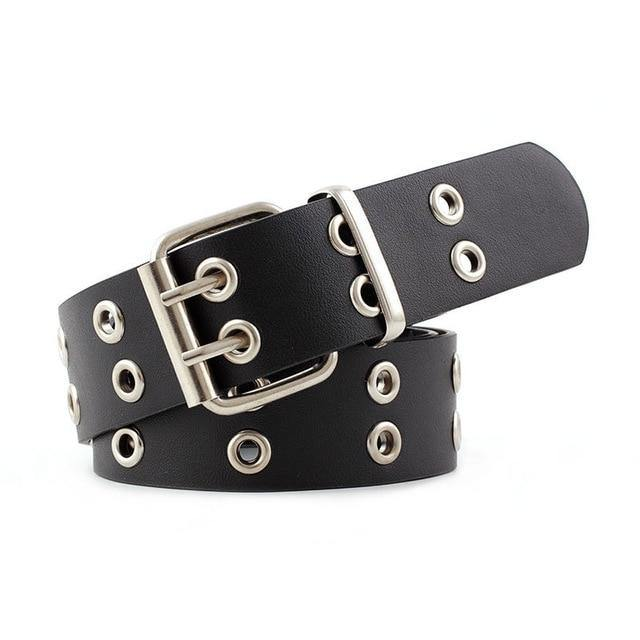 105*3.8cm NEW Women Punk Chain Fashion Belt Adjustable Black Double Eyelet Grommet Leather Buckle Belt for women belts N214 -  - monaveli - monaveli