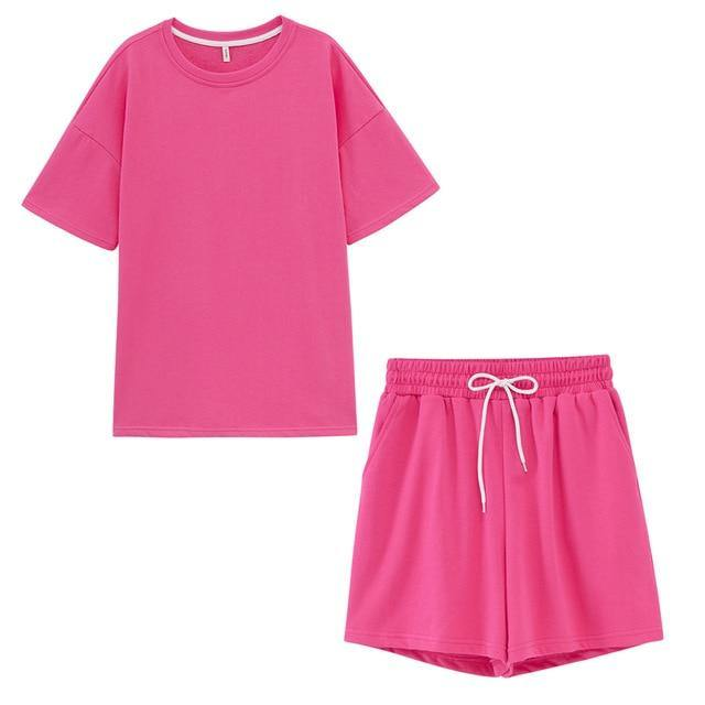 toppies summer tracksuits womens two peices set leisure outfits cotton oversized t-shirts high waist shorts candy color clothing -  - monaveli - monaveli