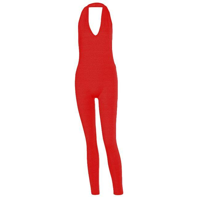 Simenual Solid Bodycon Halter Women Long Jumpsuits Skinny Backless Sleeveless Workout Overalls Sportswear Fashion Basic Jumpsuit -  - monaveli - monaveli