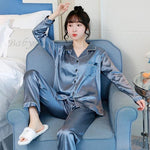 Load image into Gallery viewer, JULY'S SONG 2 Pieces Autumn Women Sleepwear Faux Silk Satin Pajamas Set Long Sleeve Pajamas for women Ladies Pyjamas -  - monaveli - monaveli