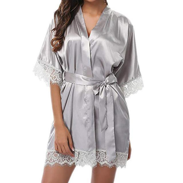 Women Sexy Nightgown Silk Kimono Dressing Gown Babydoll Lace Lingerie Bath Robe Nightwear Bathrobe Night Dress Sleepwear Femme -  - monaveli - monaveli