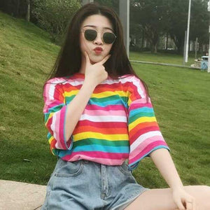 2020 new T-shirt ladies rainbow striped top Harajuku T-shirt summer short-sleeved Korean punk T-shirt -  - monaveli - monaveli