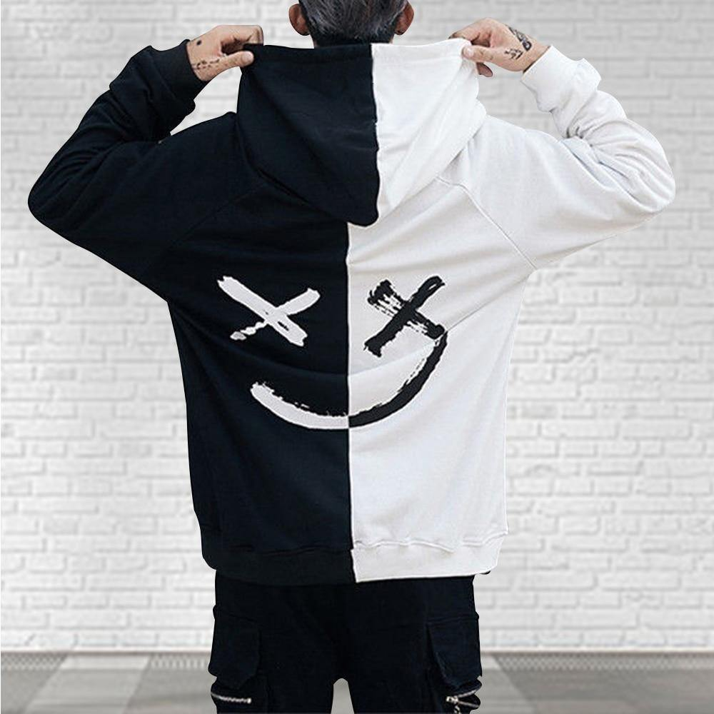 Men Hoodies Sweatshirts Happy Smiling Face Print Headwear Hoodie Women Patchwork Hoodies Hip Hop Streetwear Hooded Pullover -  - monaveli - monaveli