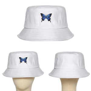 Panama with Butterfly Canvas Bucket Hat White Butterfly Embroidery Double-sided Wearable Basin Caps Outdoor Travel Visor Hat -  - monaveli - monaveli