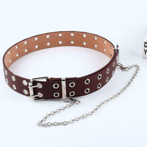 Women Punk Chain Fashion Belt Adjustable Black Double/Single Eyelet Grommet Leather Buckle Belt -  - monaveli - monaveli