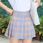 Load image into Gallery viewer, QRWR XS-3XL Plaid Summer Women Skirt 2020 High Waist Stitching Student Pleated Skirts Women Cute Sweet Girls Dance Mini Skirt -  - monaveli - monaveli