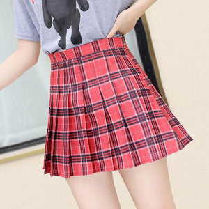 QRWR XS-3XL Plaid Summer Women Skirt 2020 High Waist Stitching Student Pleated Skirts Women Cute Sweet Girls Dance Mini Skirt -  - monaveli - monaveli