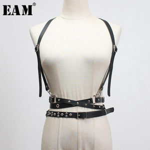 Leather Buckle Rivet Split Long Strap Belt - monaveli -  - Leather Buckle Rivet Split Long Strap Belt - mymonaveli.com