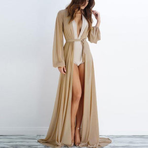 Boho Summer Sexy Chiffon Beach Tunic Maxi Dress Robe Women See Through Beach Bikinis Cover Up Swimsuit Sarong Wrap Dress -  - monaveli - monaveli
