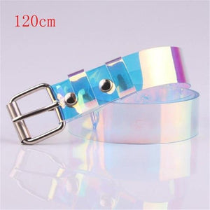 New Laser Women Belt Holographic Clear Waist Belt Metal Pin Buckle  Transparent Waist Belts for Women Belt Waistband 100cm -  - monaveli - monaveli