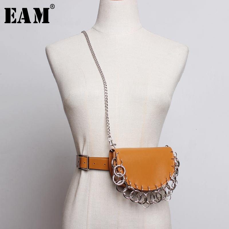 [EAM]  Pu Leather Camel Mini-bag Chain Split Long Wide Belt Personality Women New Fashion Tide All-match Spring 2020 1M836 -  - monaveli - monaveli