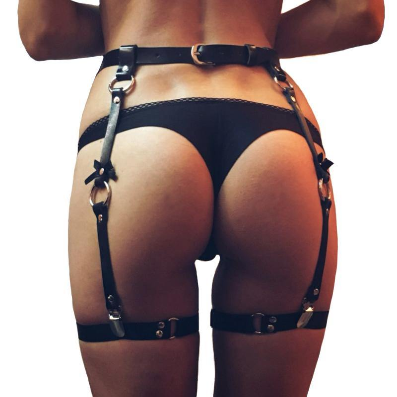 Fashion sexy women men leather Waist Garter belt for Stockings 4 suspenders Bow Handmade Punk Costume Outfit O-Round Waist Belts -  - monaveli - monaveli