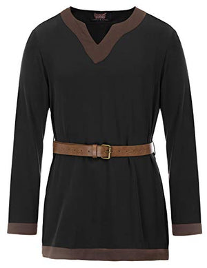 Men Medieval Viking Tunic Renaissance Long Sleeve Pirate Blouses Tops Black 2XL