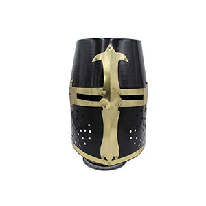 Medieval Warrior Templar Crusader Knight Armour Helmet | Black Finish Sugarloaf and Brass Design Templar Helmet | Wearable for Adult | Medieval Costumes |