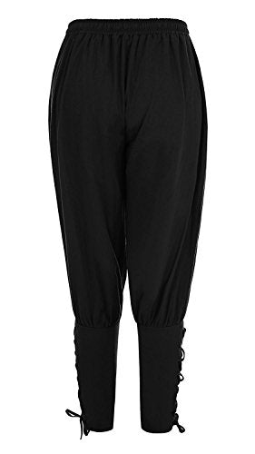 Meilidress Men's Ankle Banded Pants Medieval Viking Navigator Trousers Renaissance Pants Black