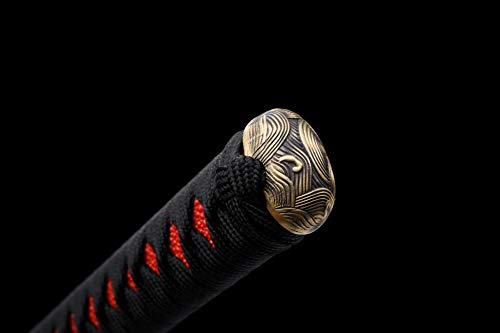 LQDSDJ Traditional Samurai Sword, Handmade Full Tang Sharp Katana Sword with T10 Steel Soil Burning Blade Process for Real Battle