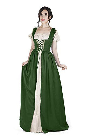 Boho Set Medieval Irish Costume Chemise and Over Dress (S/M, Hunter Green)