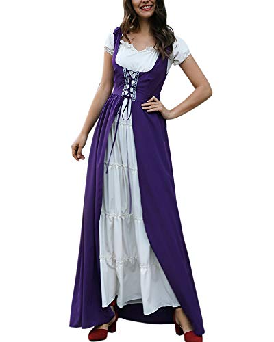 Womens Medieval Irish Costume Fancy Lace Up Chemise Over Dress Retro Boho Set Purple