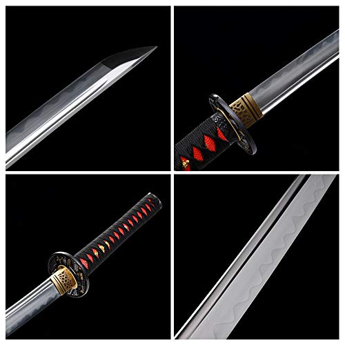 fengze Handmade Samurai Sword, 40 Inch Damascus Steel Ultra Sharp Fully Hand Forged Katana Sword for Real Battle, Full Tang, Clay Tempered (Shirasawa)