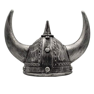 LOOYAR Middle Ages Medieval Viking Age Horned Viking Helmet Berserker Soldier Warrior Costume Hat Sallet Adult Toy for Battle Play Halloween Cosplay LARP Silver