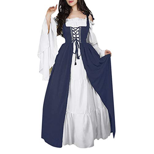 MoonHome Women's Prairie Lady Costume Medieval Costume Colonial Dress Farm Manor Clothing Navy
