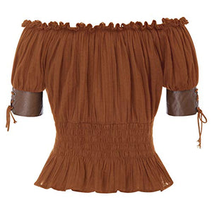 Women's Victorian Gothic Top Renaissance Peasant Tee Shirts M Brown
