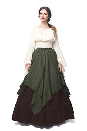 NSPSTT Womens Renaissance Medieval Costume Victorian Dresses Gown Scottish Dress D-XXL
