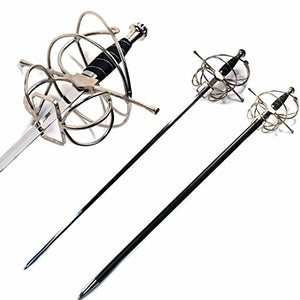 Ace Martial Arts Supply New Renaissance Rapier Fencing Sword with Swept Hilt Guard … (Swept Hill Guard with Frog Belt)