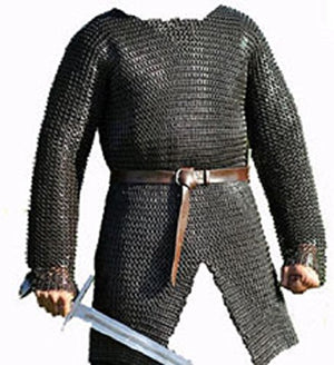SANGAMSTEELCRAFT Full Sleeve Hubergion Shirt Round Riveted with Flat Warser Chainmail Shirt 9 mm (X Large, Black)