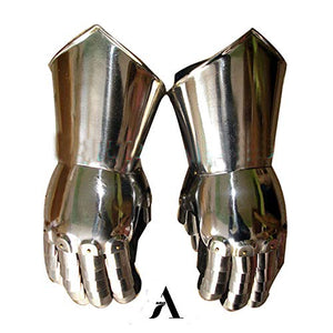 AnNafi Gauntlets Steel Gloves | Iron Metal Medieval Knight Costume| Warrior Gauntlet Fully Wearable