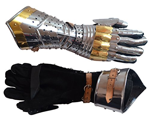 Medieval Artiulated Gauntlets with Brass Accents