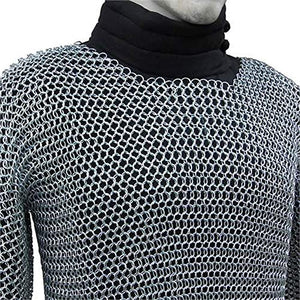 Medieval Chain Mail Shirt and Coif Armor Set (Full Size) Long Shirt (MED)