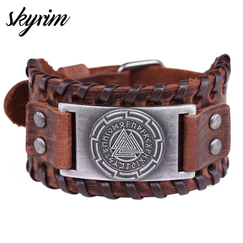 Skyrim Viking Valknut Leather Bracelet for Men Odin's Symbol Punk Retro Amulet Runes Nordic Cuff Bangle Pulseira Jewelry Gift