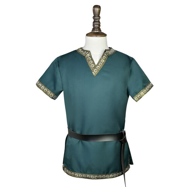 Viking Archer Battle Costume Tops Shirt Medieval Renaissance Larp Knight Warrior Tunic Male Norse Short Sleeves Belted Adult Men