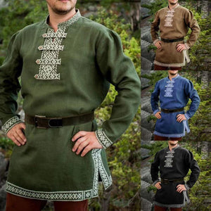 Man Retro Medieval Shirt Pirate Viking Halloween Cosplay Costumes Renaissance Print V-neck Tunic Long Sleeve Loose Tops