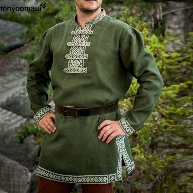 Adult Men Cos Medieval Knight Warrior Costume Tunic Norman Chevalier Army Viking Pirate Reenactment LARP SCA Tops Shirt For Men