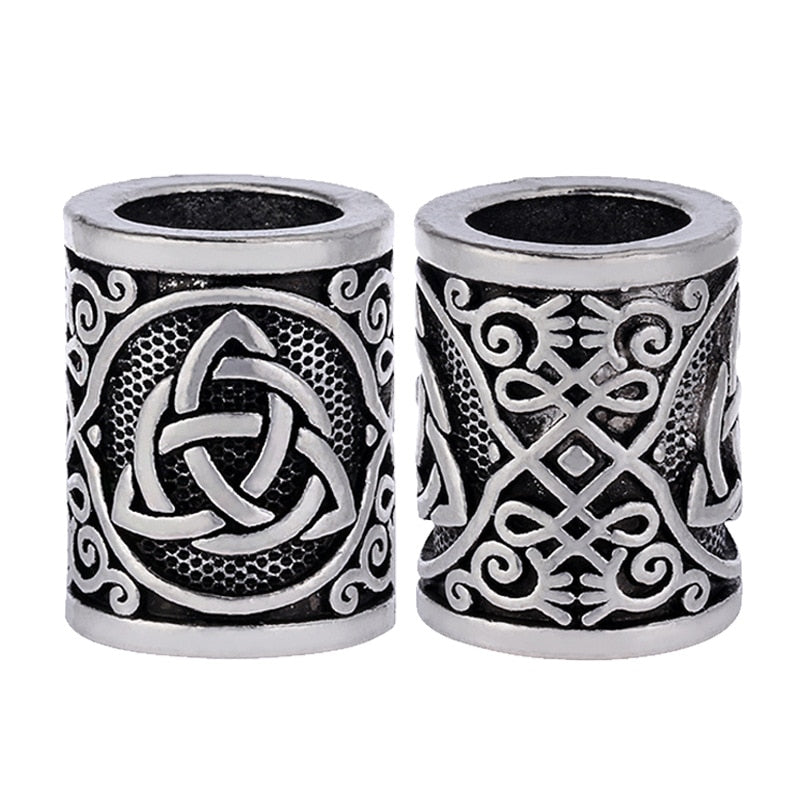 5pc Vintage Antique Silver Hair Braid Beard Dreadlock Beads Rings Tube Viking Rune Charm Pendant for DIY Necklace Jewelry Making