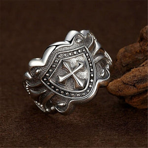 Punk Copper Shield Ring Warrior Knight Crusade Cross Sword Ring Adjustable Jewelry Medieval Men's And Women's Ring
