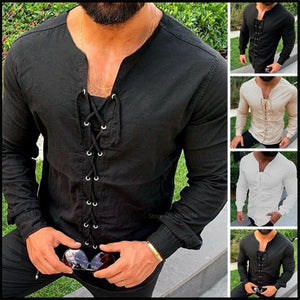 Male Solid Basic Shirt Medieval Style Halloween Viking Pirate Saxon Costume V-neck Casual Tops Long Sleeve Linen Tunic