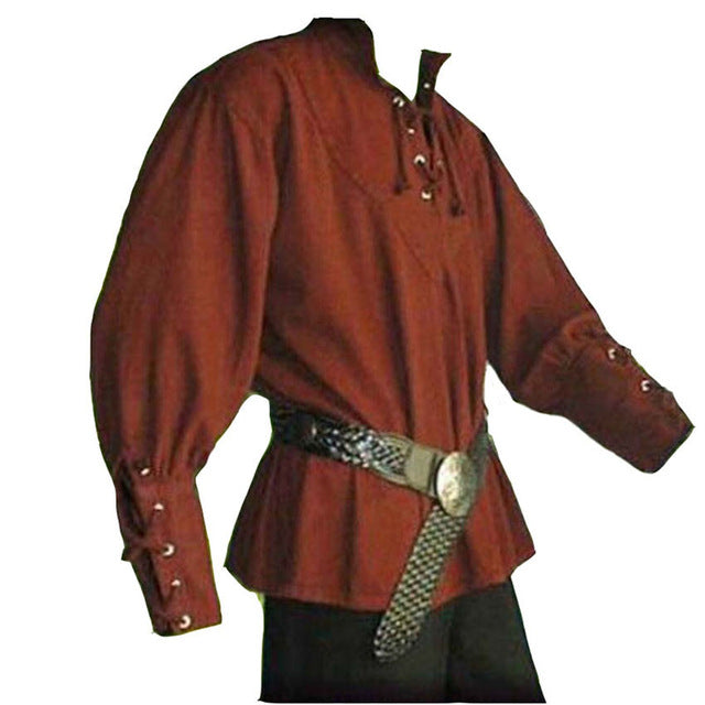 Men Halloween Medieval Costumes Linen European Ranger Knight Warrior Bridegroom Shirt Full Sleeve Viking Pirate Tops Tunic
