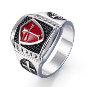 ZMZY Red Armor Knight Templar Crusader Cross Shield Men's Ring Retro Vintage Medieval Signet Stainless Steel Rings Jewelry Gifts