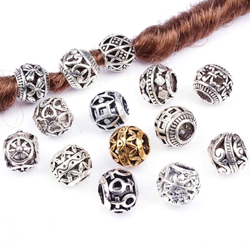 5PCS Retro Alloy viking Hollow Round Hair Braid Dread Beard dreadlock beads rings tube for hair Accessories hole size 4.5mm