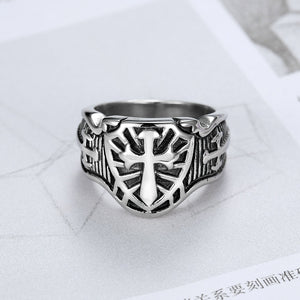 Punk 316L Stainless Steel Armor Shield Ring Knight Templar Crusade Cross Sword Ring Christian Jewelry Medieval Signet Mens Rings