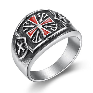 2019 316L Stainless steel Red Armor Shield Knight Templar Crusade Cross Ring Medieval Signet Retro Vintage US Size 7 - 14