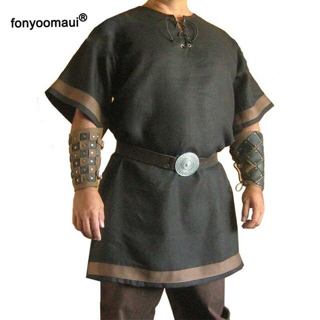 Cosplay Medieval Vintage Renaissance Viking Warrior Knight LARP Costume Adult Men Nordic Army Pirate Tunic Shirt Tops Outfits