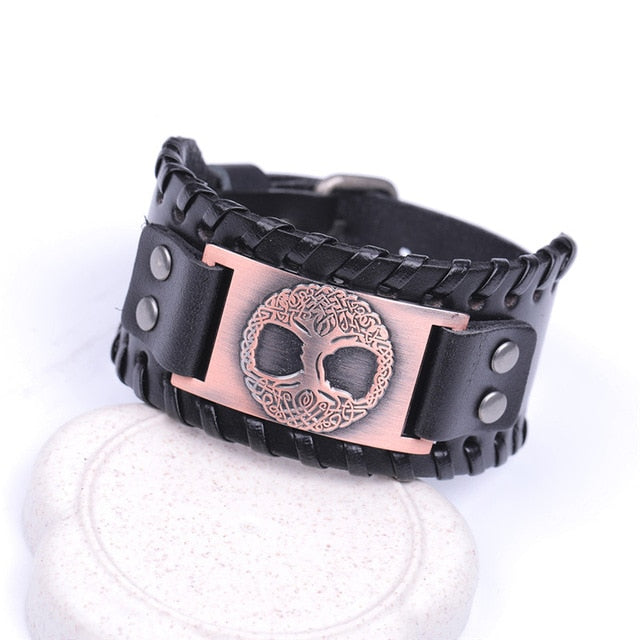 "Viking ""Tree of Life"" Vintage Metal Leather Wristband"