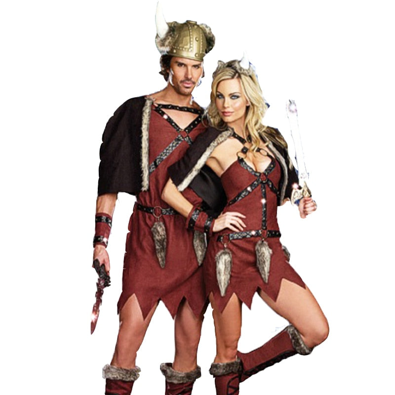 Adult Couples Medieval Viking Pirate Costume Sexy Mini Dress