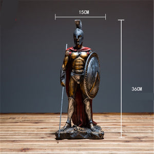 Retro Roman Soldier Knights Statue Greek Mythological Figure Medieval Armor God Sculpture Resin Crafts Home Decoration